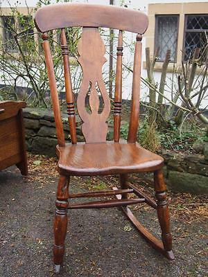 Stunning Antique Victorian Solid Oak Dainty Ladies Rocking Chair Lovely Quality