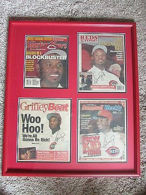 Ken Griffey Jr. Signed Cincinnati Reds Magazines Framed Picture One Of A Kind!