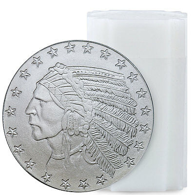 Roll of 20 - Incuse Indian Head 1 oz Silver Round - Highland Mint SKU35816