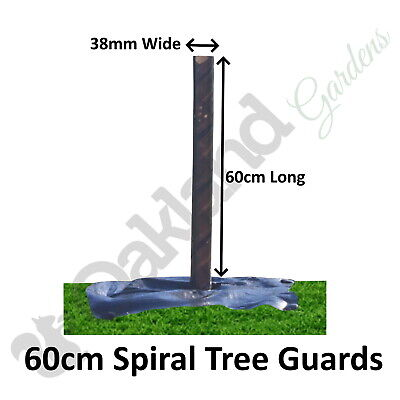 50 X ( 60CM X 38MM ) Brown Spiral Tree Guards Shelters Protectors Rabbit Hedge