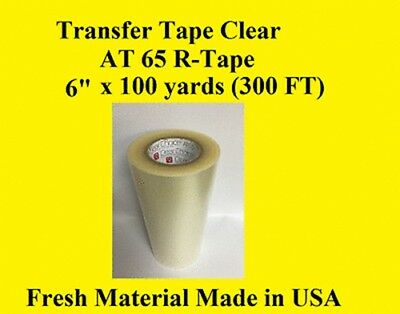 """1 Roll 6"""" x 100 yard  Application Transfer Tape Vinyl Signs R TAPE  Clear at 65"""