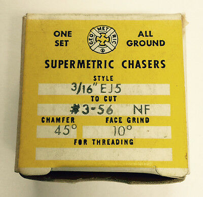 "NEW Supermetric #3-56 Chasers for Geometric 3/16"" EJ5 Die Head"
