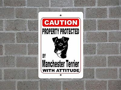 Property protected by Manchester Terrier dog breed with attitude metal sign #B