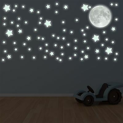 Glow In The Dark Moon and Stars Wall Sticker Decal