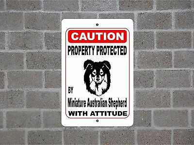 Property protected by Miniature Australian Shepherd Dog with attitude sign #B