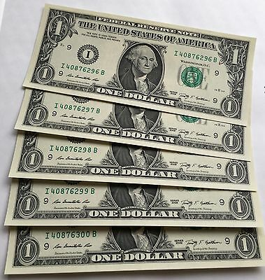 4 x United States America USA Banknotes Bank Notes $1 Unc Crisp Ex Bundle 2009