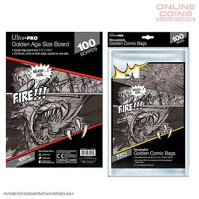BUNDLE! Ultra Pro - Resealable GOLDEN Size Comic Bags & Backing Boards x 100