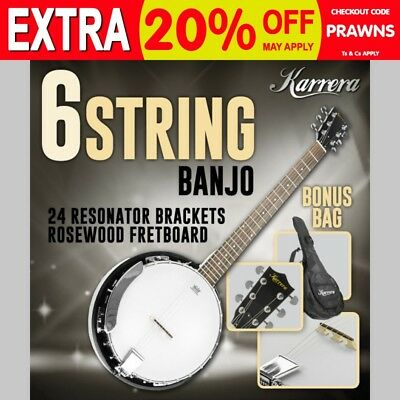 New Karrera 6 String Bluegrass Resonator Banjo Gloss Black Brown