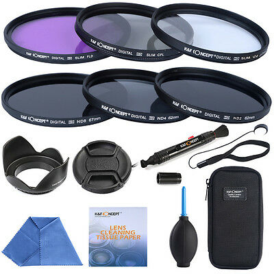 67mm Slim Lens Filter Kit UV CPL FLD ND2 ND4 ND8 for Nikon Canon By K&F Concept