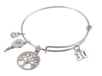 Silver Tone 30th Birthday Expandable Wire Bangle Bracelet #92135