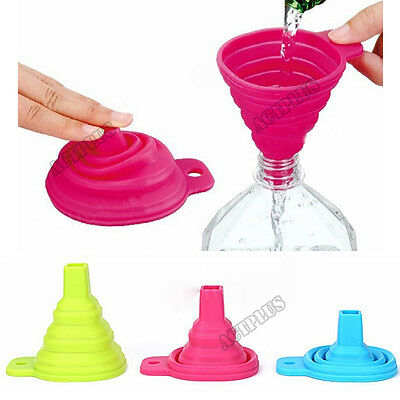 Practical Silicone Collapsible Foldable Funnel Hopper Kitchen Gadget  act