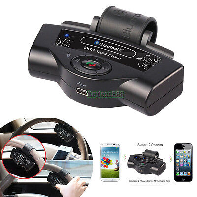 Steering Wheel In-car Hands-free Bluetooth Car kit Speaker For iPhone Samsung LG