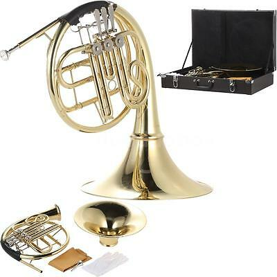 French Horn B/Bb Flat 3 Key Brass Gold Lacquer Single-Row Split w/Case P8F1