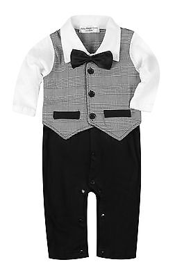 Baby Boy Formal*Party*Christening*Wedding*Tuxedo 1pc Detached Bow Tie Suit 0-24M