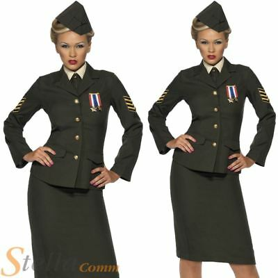 Ladies Wartime Officer Costume 1940s WW2 Army Uniform Fancy Dress Outfit 8-26