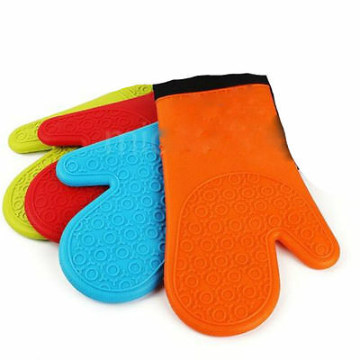 Heat Resistant Silicone Oven Glove Pot Holder For Baking BBQ Cooking Mitts