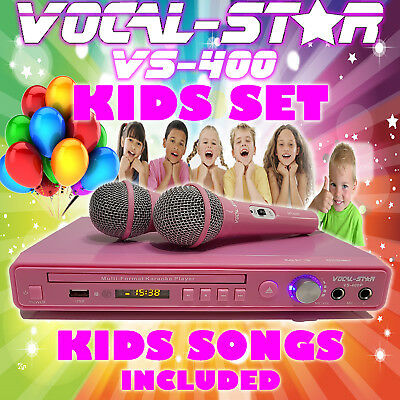 Vocal-Star Vs-400 Pink Cdg Dvd Karaoke Machine Player 2 Microphones & Kids Songs