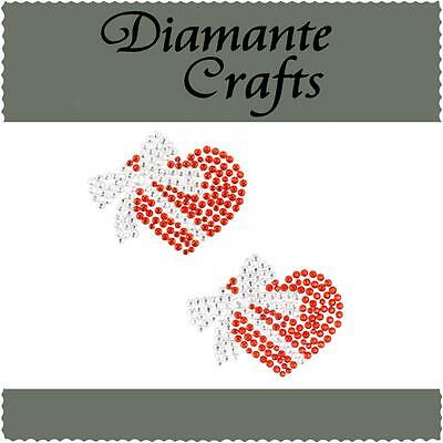 2 x 34mm Red Heart with Clear Bow Diamante Rhinestone Vajazzle Body Gems