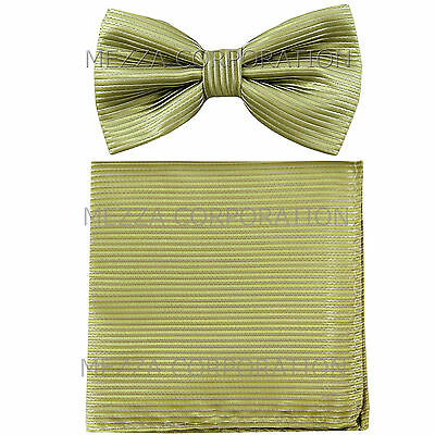 New Men/'s Pre-tied Bow tie /& hankie set sage green plaids /& checkers formal