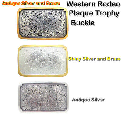 WESTERN ENGRAVED RODEO PLAQUE TROPHY COWBOY BELT BUCKLE NEW CHOOSE ONE