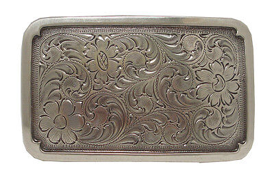 Western Engraved Rodeo Plaque Trophy Antique Silver Plated Cowboy Belt Buckle