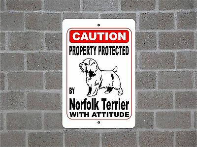 Property protected by Norfolk Terrier dog breed with attitude metal sign #B