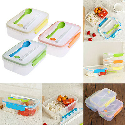 Microwave Bento Lunch Box + Spoon Utensils Picnic Food Container Storage Box C