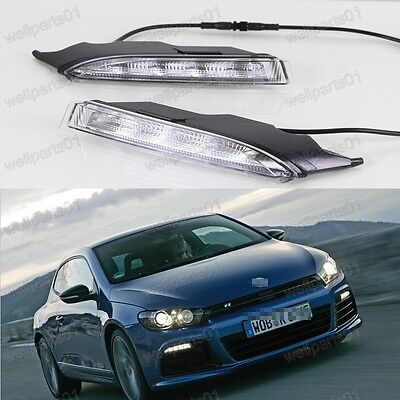 2Pcs LED DRL Day Daytime Running Lights Turn Signal For VW Scirocco R 2010-2013