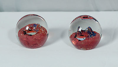 """Glass Paperweight with Fish 3"""" Height - Set of 2"""