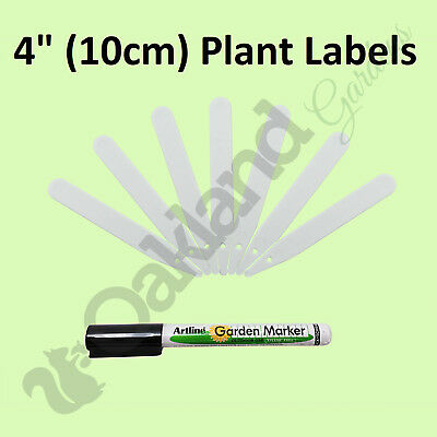 """500 X 4"""" White Plant Stick Labels 10Cm Plastic Seed Tray ## Marker Pen ##"""