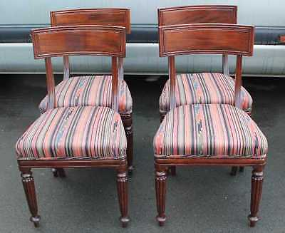 Set 4 Victorian Elegant Mahogany Bar Back Dining Chairs. Striped Seats.(2)