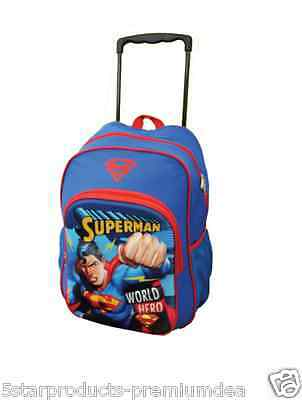 New Superman Hero Blue Backpack Bag Wheeled With Straps Kids School Travel