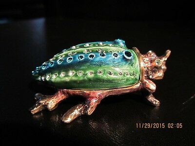 Jeweled Bug Trinket box/jewerly/pill box- Crystals Rhinestones Enamel