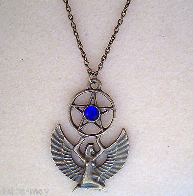 "Egyptian Mother Goddess Isis Pentagram Blue Bronze Amulet Talisman 24"" Necklace"