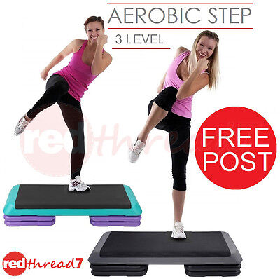Exercise Aerobic Step Workout Gym Cardio Fitness Bench Riser 3 Level NEW Everfit