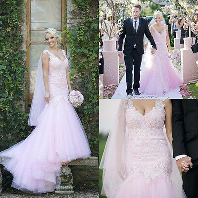 Fabulous Blush Pink Mermaid Lace Tulle Wedding Dress Sequins Bridal Gown Custom