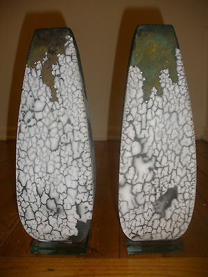 Pair Of Beautiful Vintage Modernist Pottery Delphi Candlestick Candle Holder