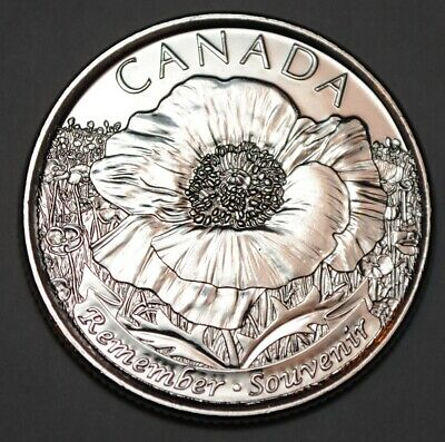 Canada 2015 25 cents Poppy UNC from roll - BU Canadian Quarter