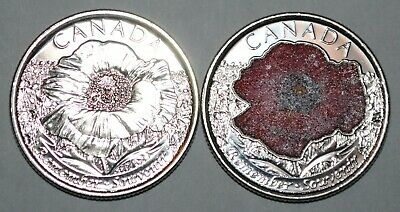 Canada 2015 25 cents Poppies UNC from roll - BU Canadian Quarters Reg + Coloured