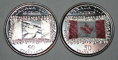 Canada 2015 25 cents Flags UNC from roll - BU Canadian Quarters Reg + Coloured