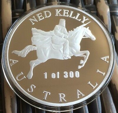 NED KELLY XL COIN Robbery & Murder 1of 300 Rare 65mm Finished Silver 2.3Oz 65g