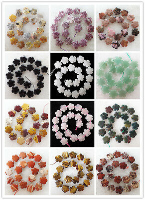 XJ-601 Carved Mixed Gemstone Flower Loose Bead 15.5 inch (20x6mm 20pcs)