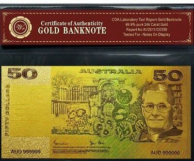 COLOURED AUSTRALIAN PAPER $50 24k GOLD FOIL 999.9 GOLD BANK NOTE COA Banknote ✔️
