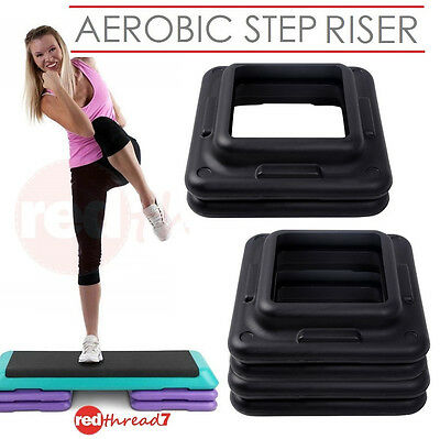 Aerobic Step Risers Exercise Workout Gym Cardio Fitness Bench Pair Everfit Black