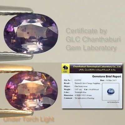 Rare! Certified 1.07ct 6.5x5mm Oval Natural Unheated Color Change Sapphire