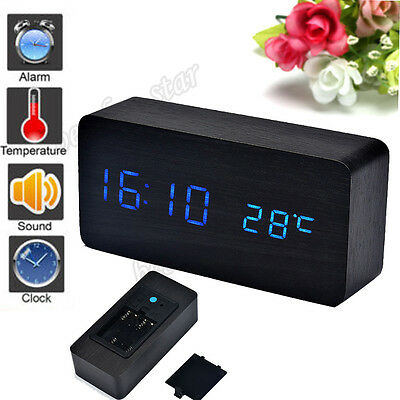 Wood Black Temperature Sounds Control LED electronic Digital desktop Alarm Clock