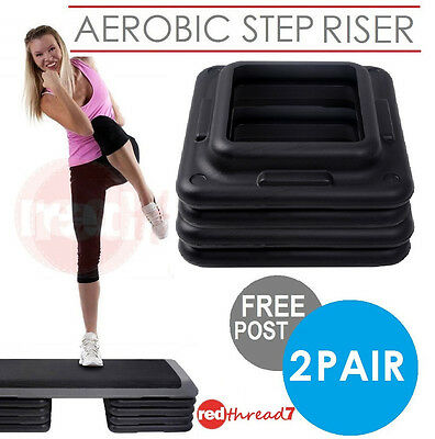 Aerobic Step Risers Exercise Workout Gym Cardio Fitness Bench 2 Pair Everfit New