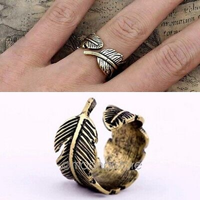 1 Pcs New Style Mujer Hombre Vintage Feather Ring Charms Dedo Anillos Jewelry HY