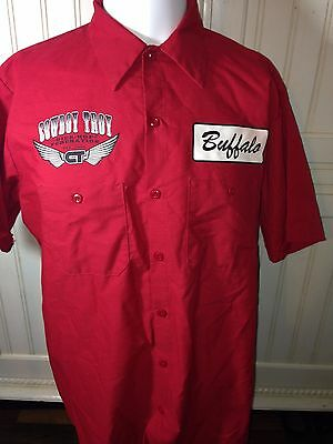 Rare RED Cowboy Troy Buffalo Stampede Hip Hop Federation Red Cap Large SS Used