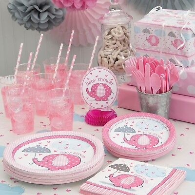 PINK UMBRELLAPHANTS - Baby Shower Party Supplies,Games,Tableware,Decorations,Gir